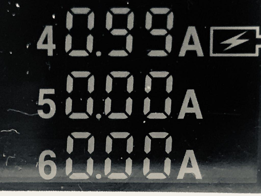 供給電流量の数値