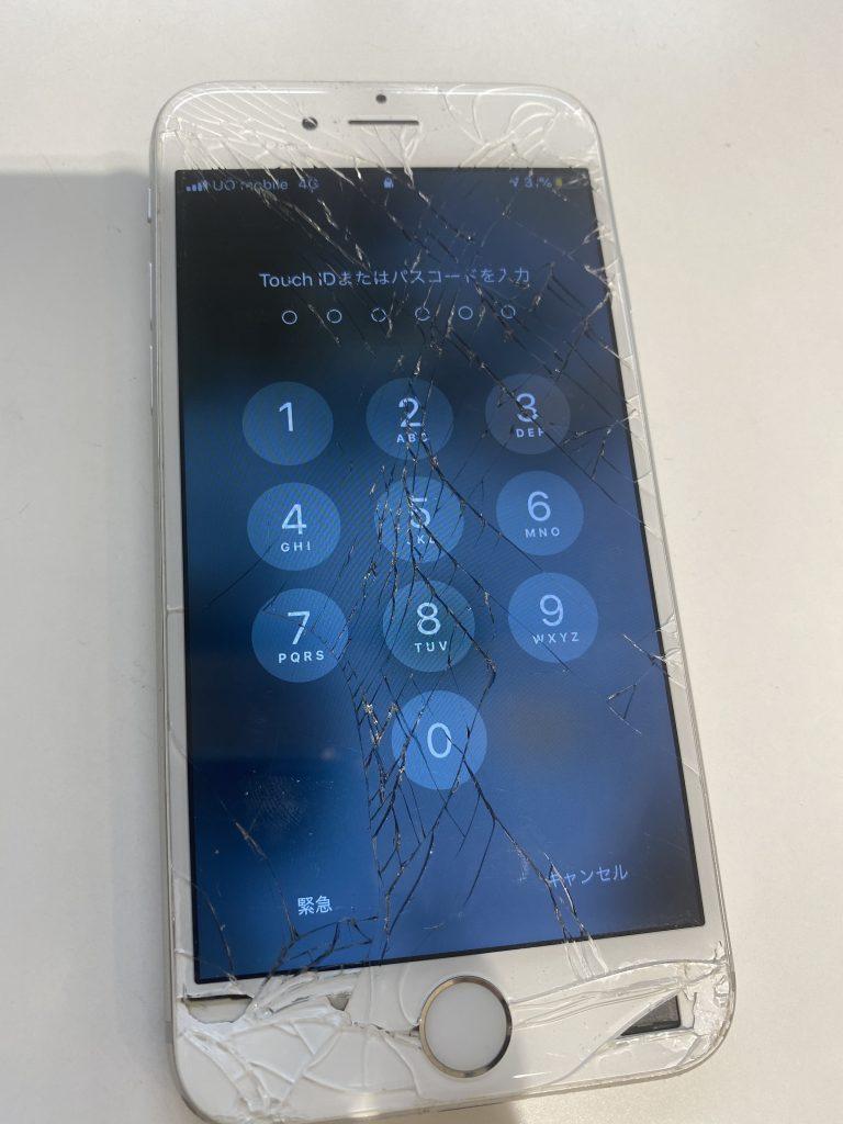 iPhone8のガラス割れ、ガラスが飛び散ってしまっている。