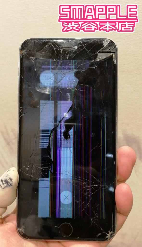落として画面が割れて表示もほとんど映らず操作困難になったiPhone6sPlus画像