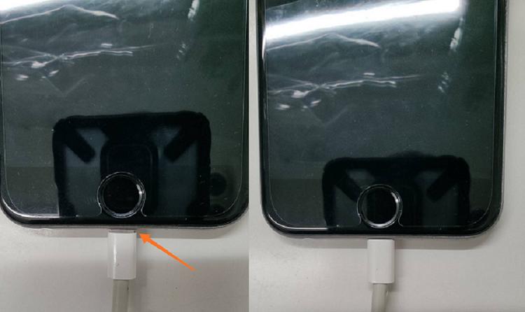 充電口にゴミが詰まってケーブルが奥まで挿し込めず充電出来なくなったiPhone画像