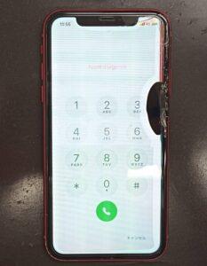 画面が割れ液晶漏れや表示の乱れが起きたiPhoneXR画像